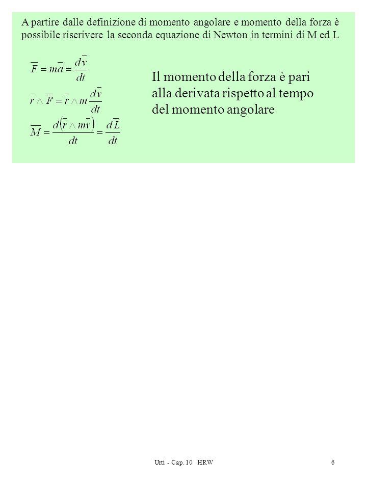 A partire dalle definizione di momento angolare e momento della forza è possibile riscrivere la seconda equazione di Newton in termini di M ed L
