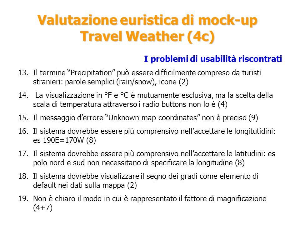 Valutazione euristica di mock-up Travel Weather (4c)