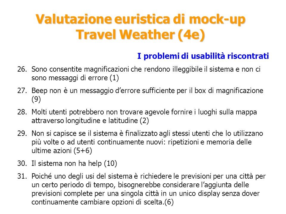Valutazione euristica di mock-up Travel Weather (4e)