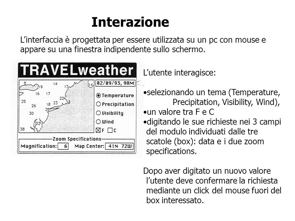 Interazione L'interfaccia è progettata per essere utilizzata su un pc con mouse e appare su una finestra indipendente sullo schermo.