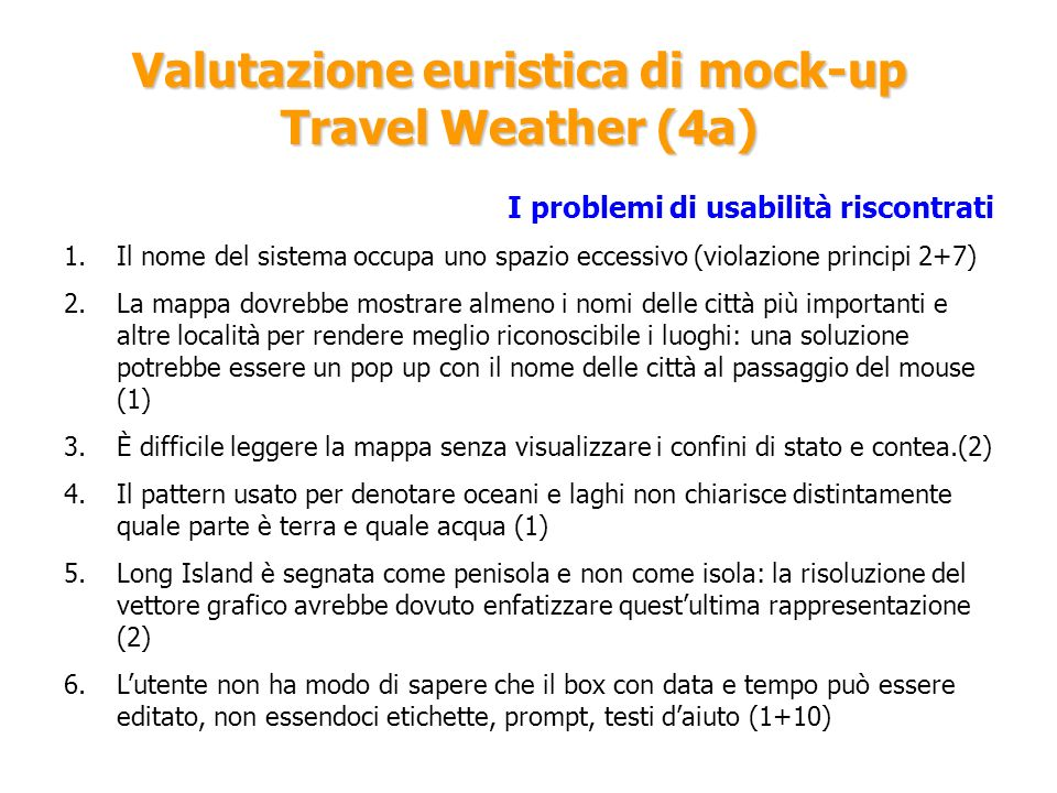 Valutazione euristica di mock-up Travel Weather (4a)