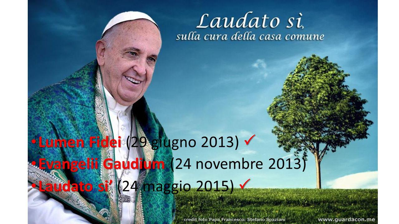 Lumen Fidei (29 giugno 2013)  Evangelii Gaudium (24 novembre 2013) Laudato si' (24 maggio 2015) 
