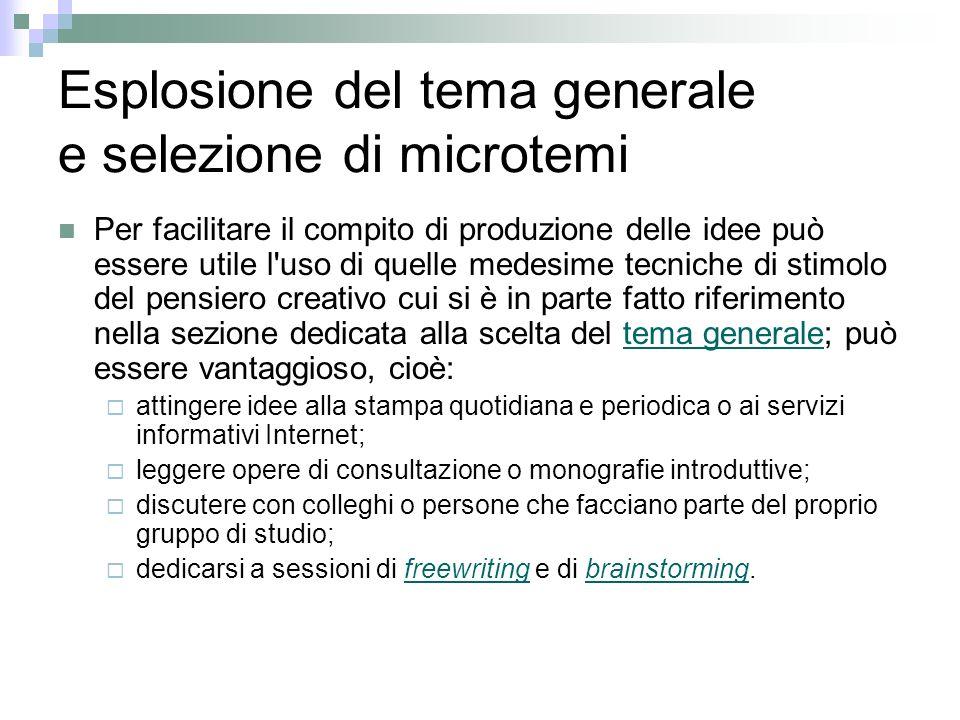 Esplosione del tema generale e selezione di microtemi