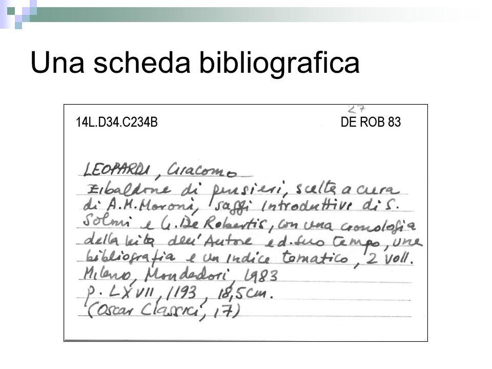 Una scheda bibliografica