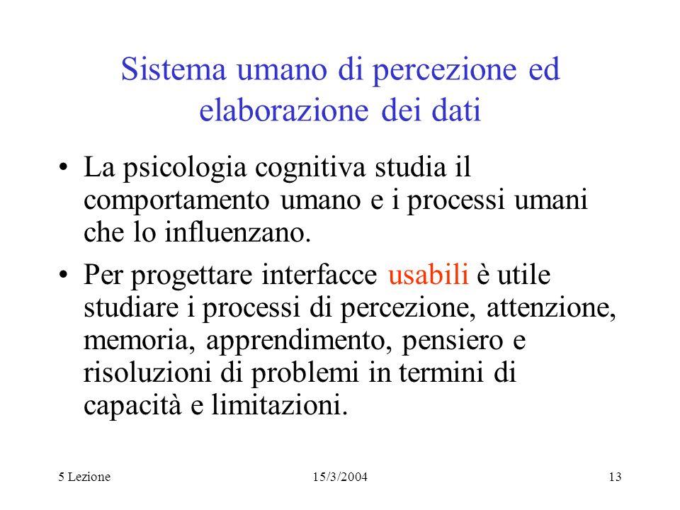 Sistema umano di percezione ed elaborazione dei dati