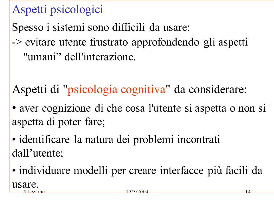 Aspetti di psicologia cognitiva da considerare: