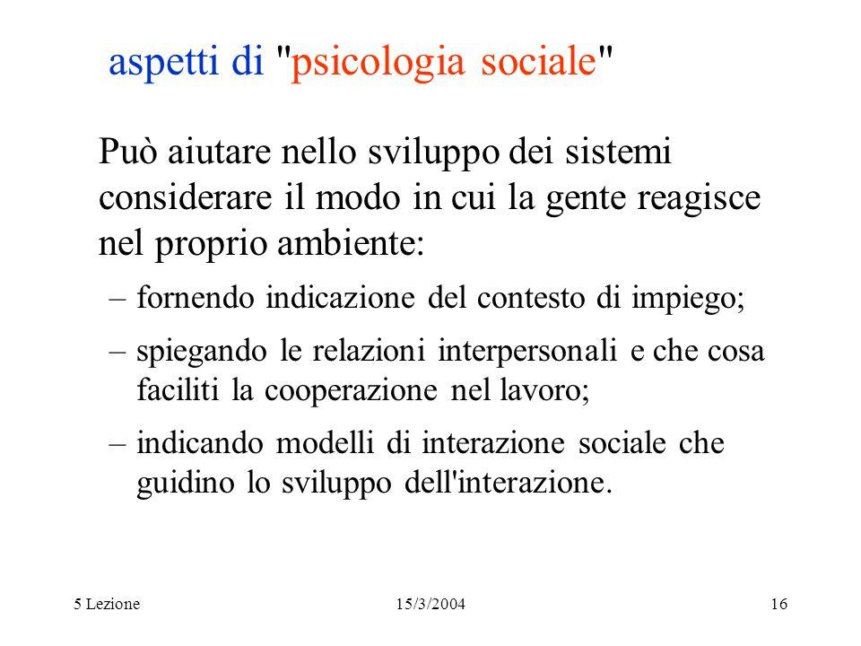 aspetti di psicologia sociale