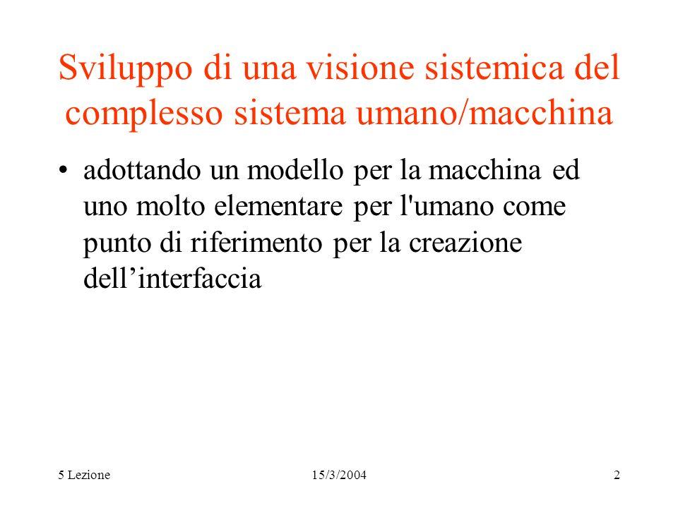 Sviluppo di una visione sistemica del complesso sistema umano/macchina