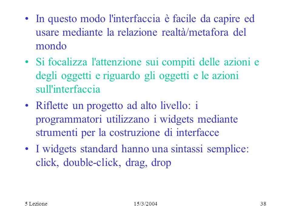In questo modo l interfaccia è facile da capire ed usare mediante la relazione realtà/metafora del mondo