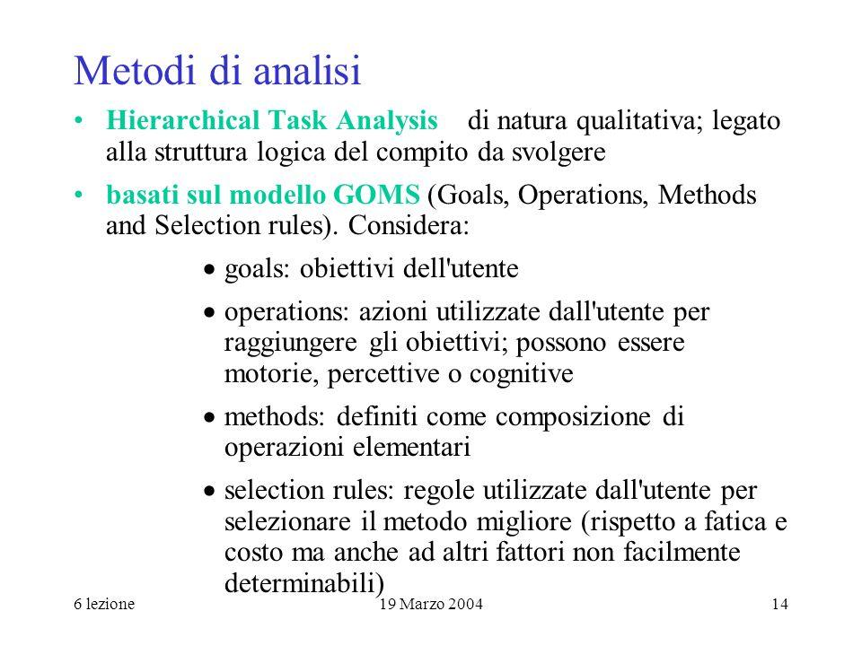 Metodi di analisi Hierarchical Task Analysis di natura qualitativa; legato alla struttura logica del compito da svolgere.