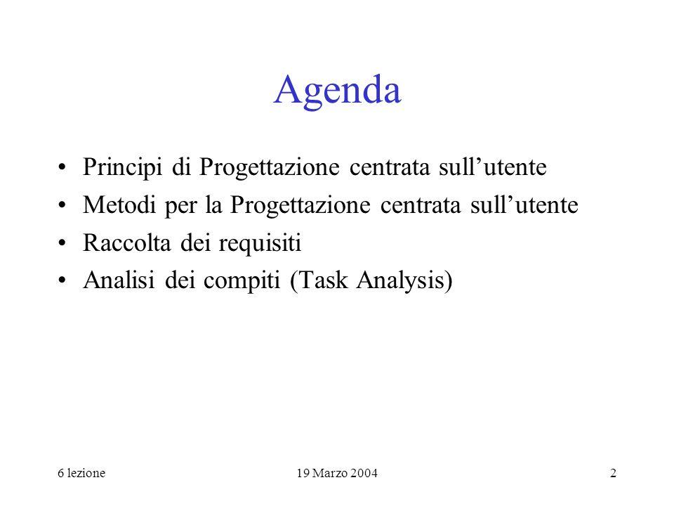 Agenda Principi di Progettazione centrata sull'utente