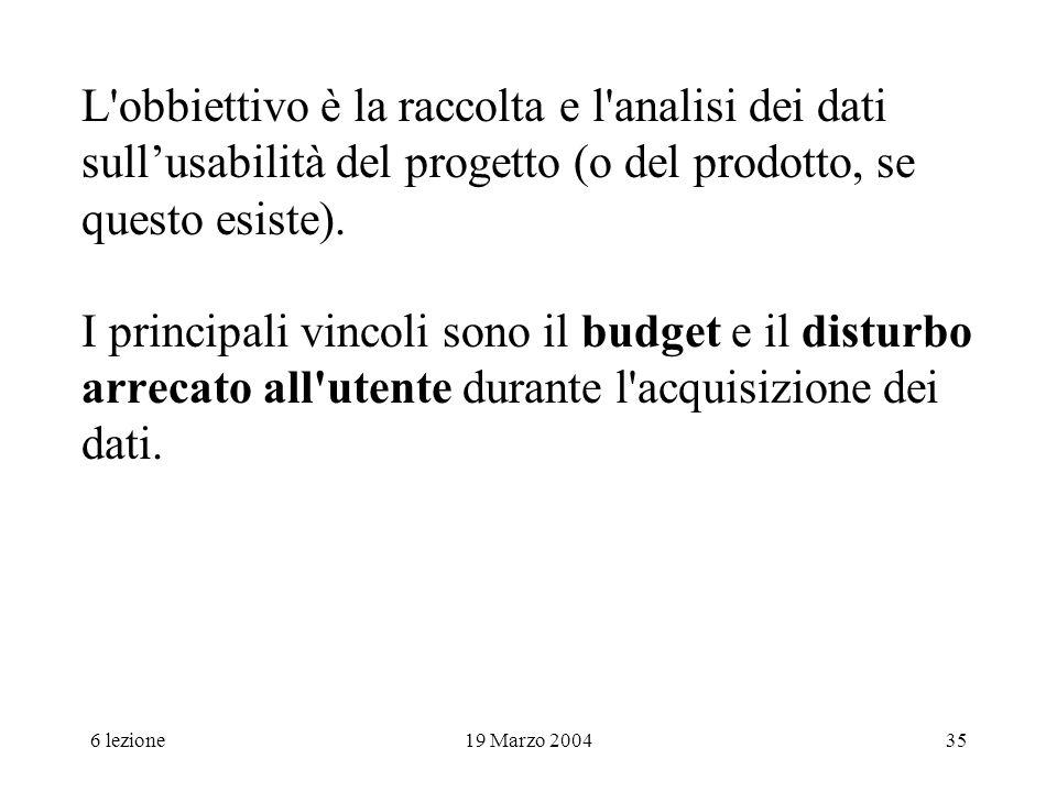 L obbiettivo è la raccolta e l analisi dei dati sull'usabilità del progetto (o del prodotto, se questo esiste). I principali vincoli sono il budget e il disturbo arrecato all utente durante l acquisizione dei dati.