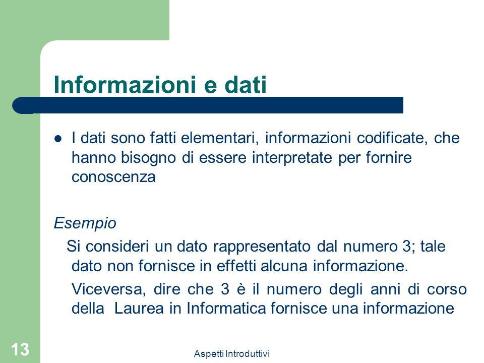 Informazioni e dati I dati sono fatti elementari, informazioni codificate, che hanno bisogno di essere interpretate per fornire conoscenza.