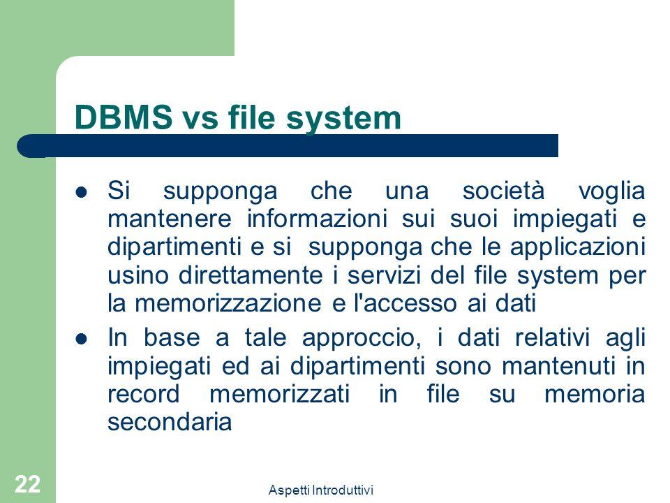 DBMS vs file system