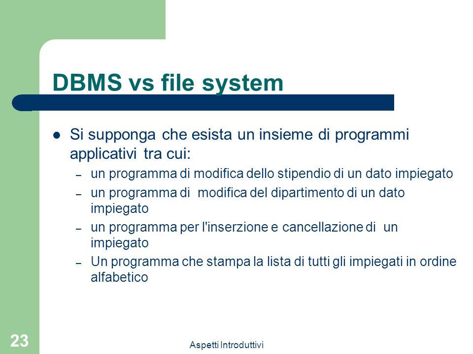 DBMS vs file systemSi supponga che esista un insieme di programmi applicativi tra cui: un programma di modifica dello stipendio di un dato impiegato.