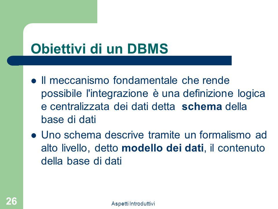 Obiettivi di un DBMS