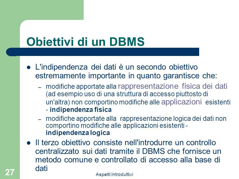 Obiettivi di un DBMS L indipendenza dei dati è un secondo obiettivo estremamente importante in quanto garantisce che:
