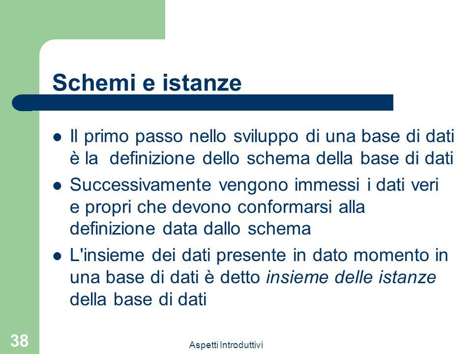 Schemi e istanzeIl primo passo nello sviluppo di una base di dati è la definizione dello schema della base di dati.