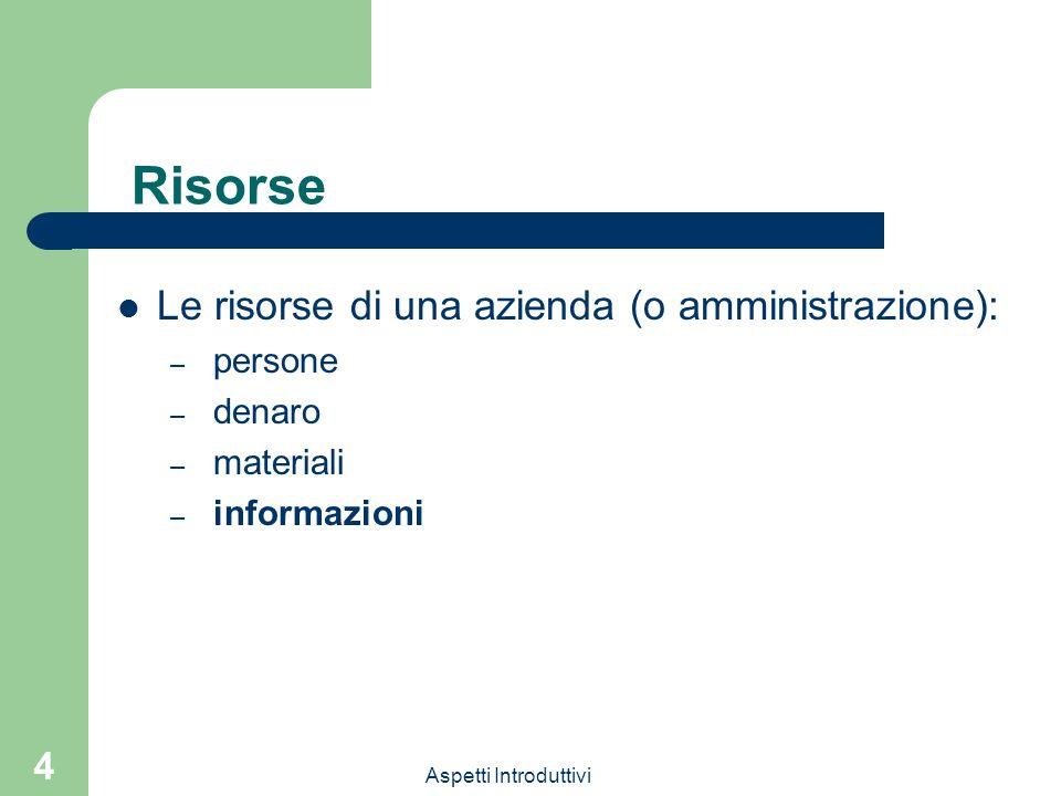 Risorse Le risorse di una azienda (o amministrazione): persone denaro