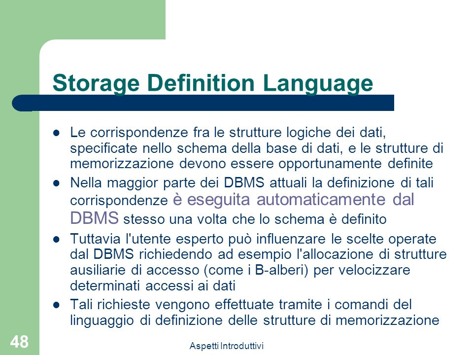 Storage Definition Language