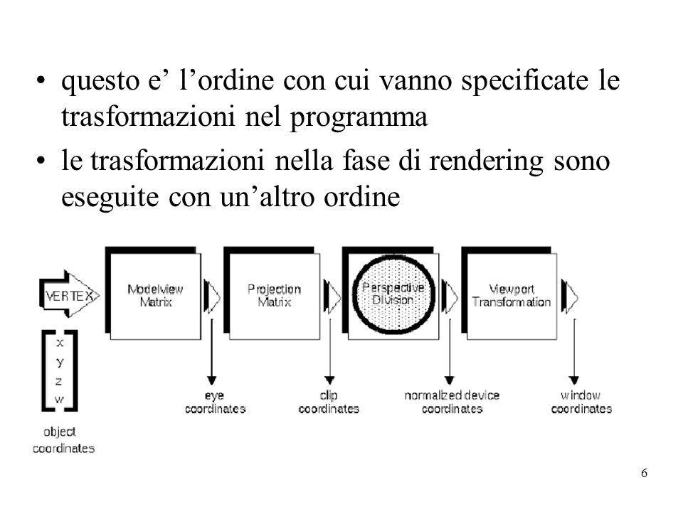 questo e' l'ordine con cui vanno specificate le trasformazioni nel programma