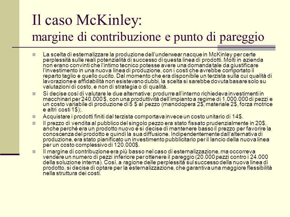 Il caso McKinley: margine di contribuzione e punto di pareggio