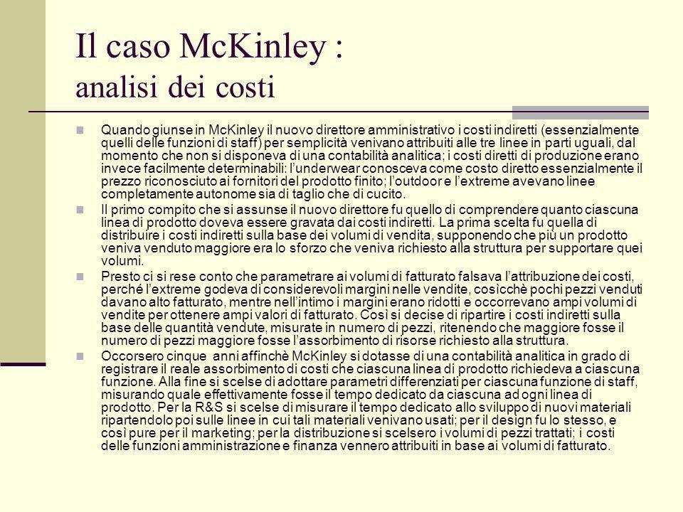 Il caso McKinley : analisi dei costi