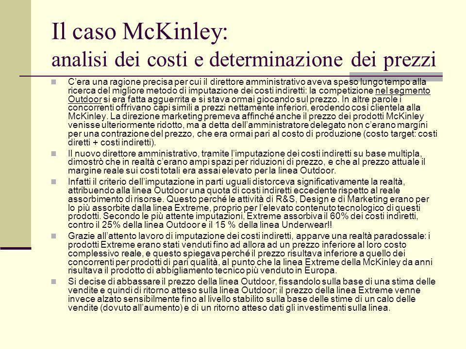 Il caso McKinley: analisi dei costi e determinazione dei prezzi