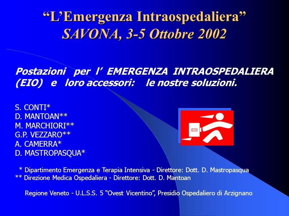L'Emergenza Intraospedaliera SAVONA, 3-5 Ottobre 2002