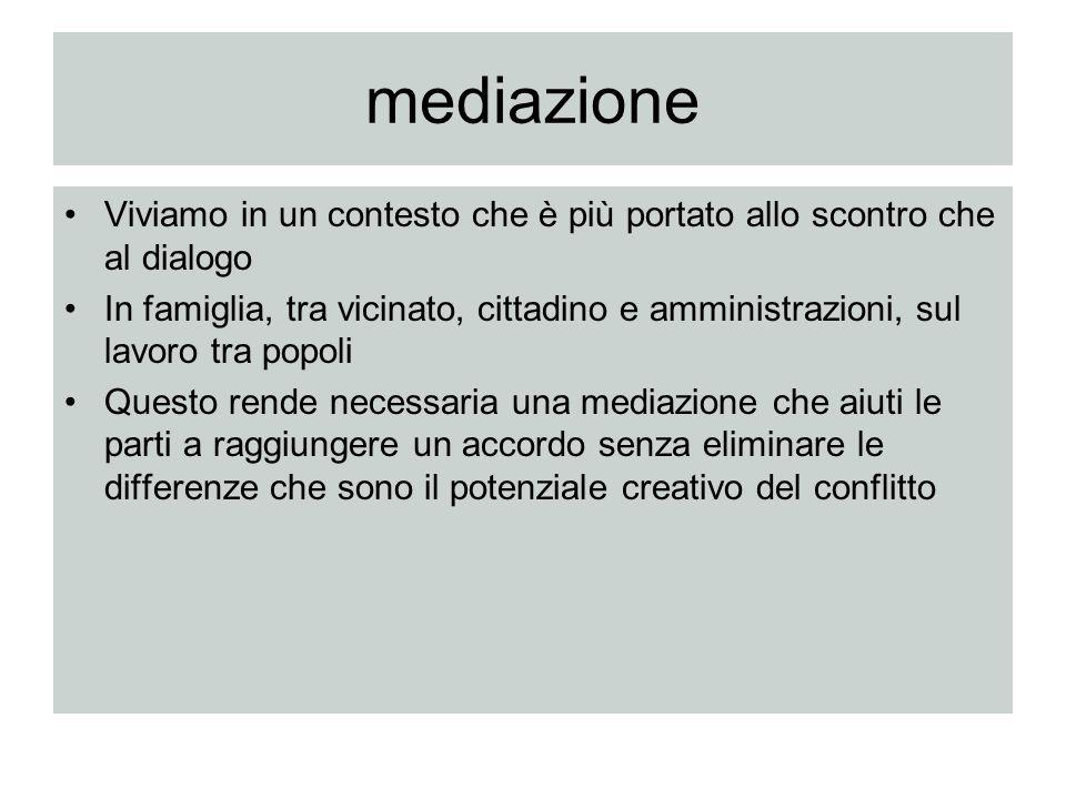 mediazione Viviamo in un contesto che è più portato allo scontro che al dialogo.