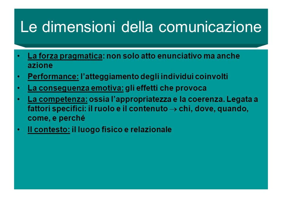 Le dimensioni della comunicazione
