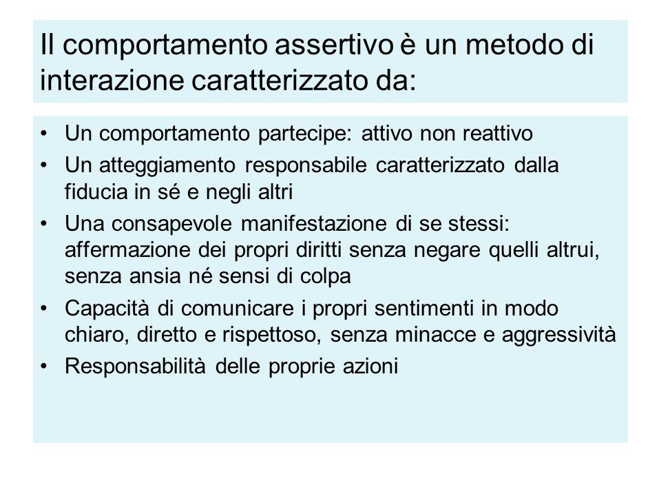 Il comportamento assertivo è un metodo di interazione caratterizzato da: