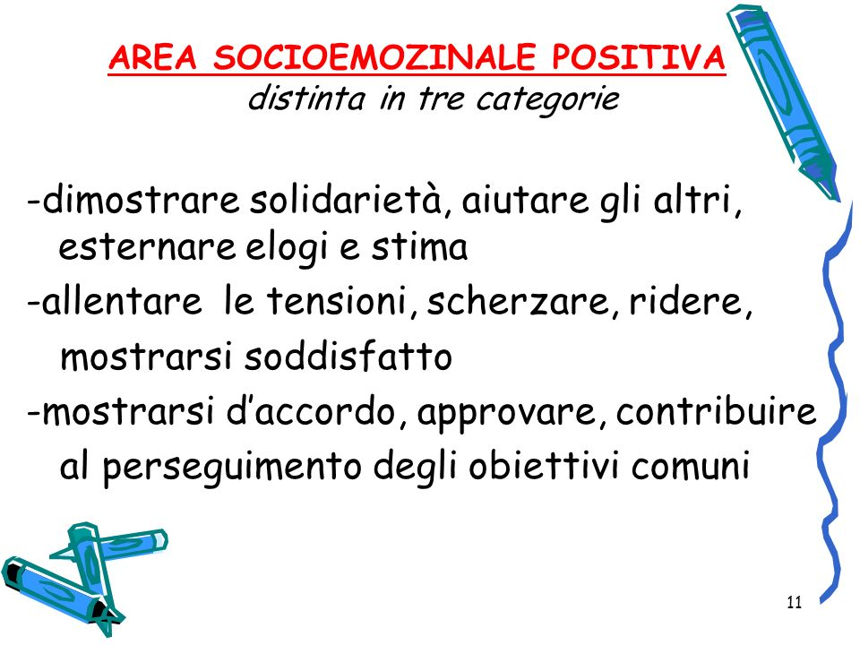 AREA SOCIOEMOZINALE POSITIVA distinta in tre categorie