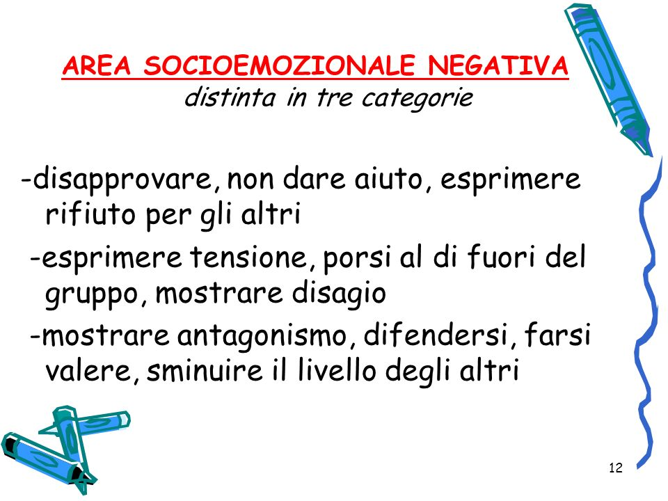 AREA SOCIOEMOZIONALE NEGATIVA distinta in tre categorie