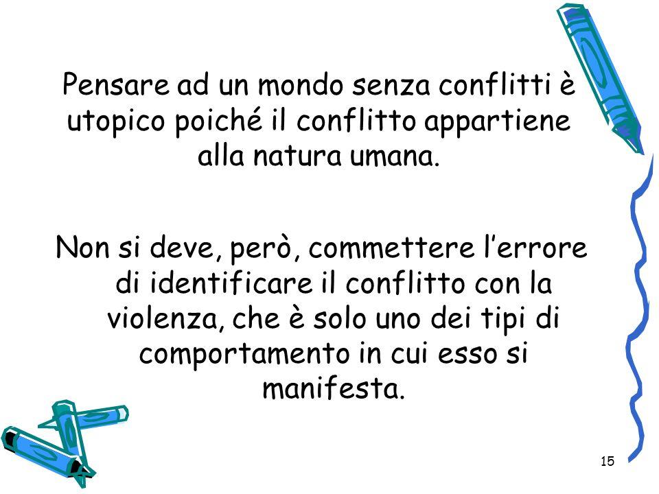 Pensare ad un mondo senza conflitti è utopico poiché il conflitto appartiene alla natura umana.