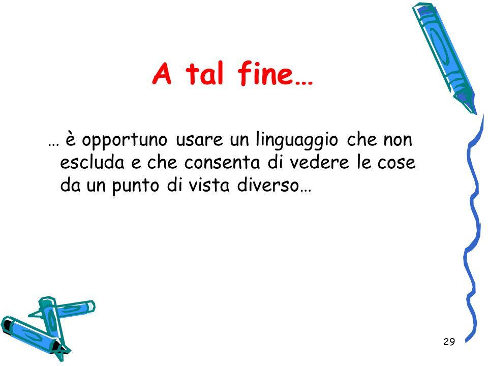A tal fine… … è opportuno usare un linguaggio che non escluda e che consenta di vedere le cose da un punto di vista diverso…