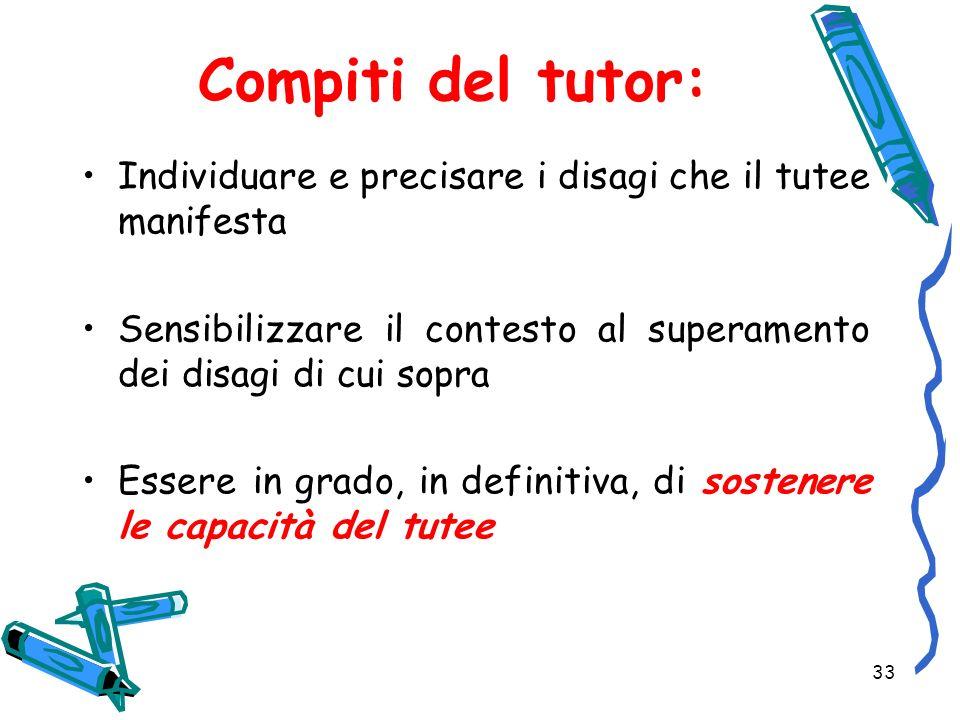 Compiti del tutor: Individuare e precisare i disagi che il tutee manifesta. Sensibilizzare il contesto al superamento dei disagi di cui sopra.