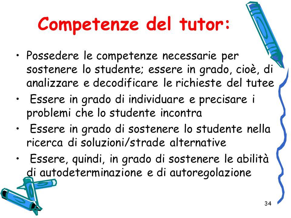 Competenze del tutor: