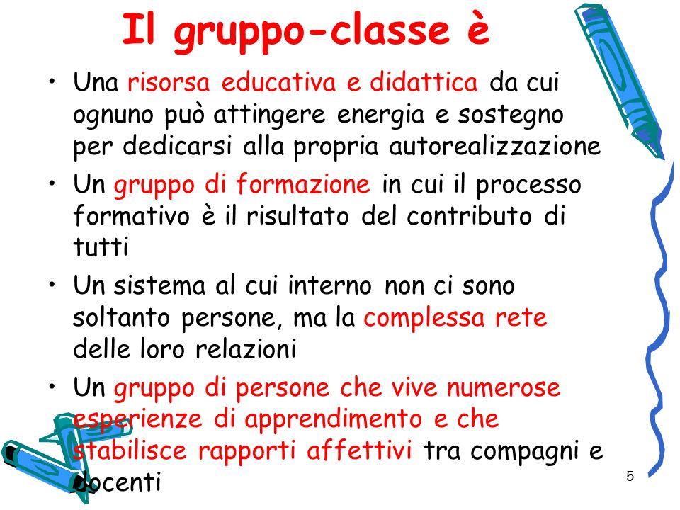 Il gruppo-classe è Una risorsa educativa e didattica da cui ognuno può attingere energia e sostegno per dedicarsi alla propria autorealizzazione.