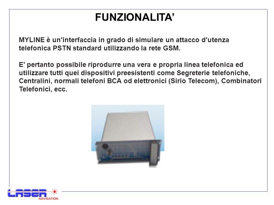 FUNZIONALITA' MYLINE è un interfaccia in grado di simulare un attacco d utenza telefonica PSTN standard utilizzando la rete GSM.