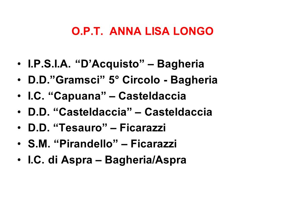 O.P.T. ANNA LISA LONGO I.P.S.I.A. D'Acquisto – Bagheria. D.D. Gramsci 5° Circolo - Bagheria. I.C. Capuana – Casteldaccia.