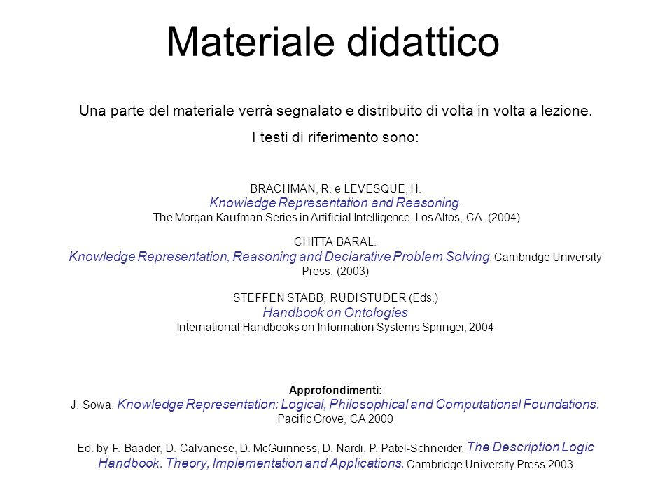 Materiale didattico Una parte del materiale verrà segnalato e distribuito di volta in volta a lezione.