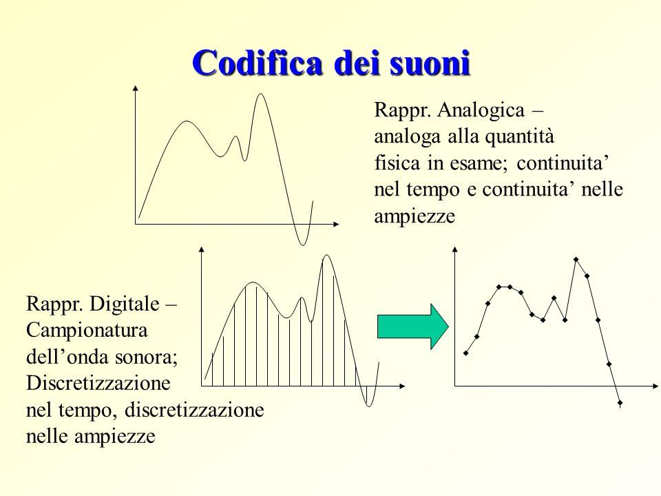 Codifica dei suoni Rappr. Analogica – analoga alla quantità