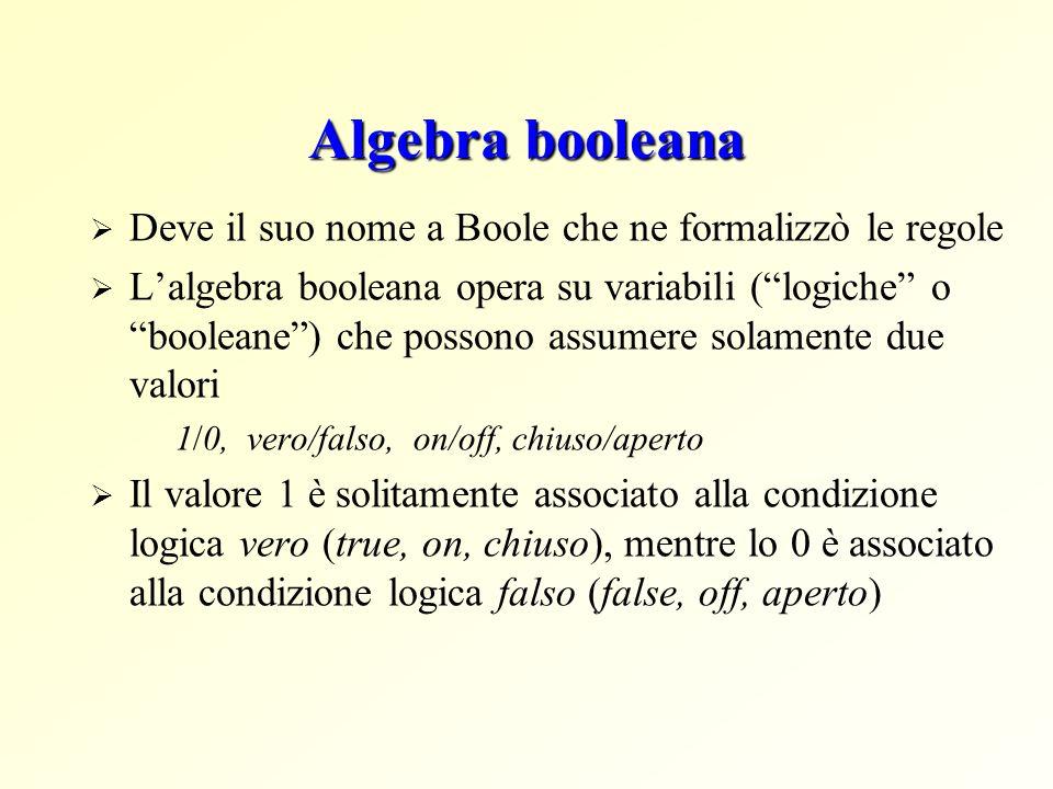 Algebra booleana Deve il suo nome a Boole che ne formalizzò le regole