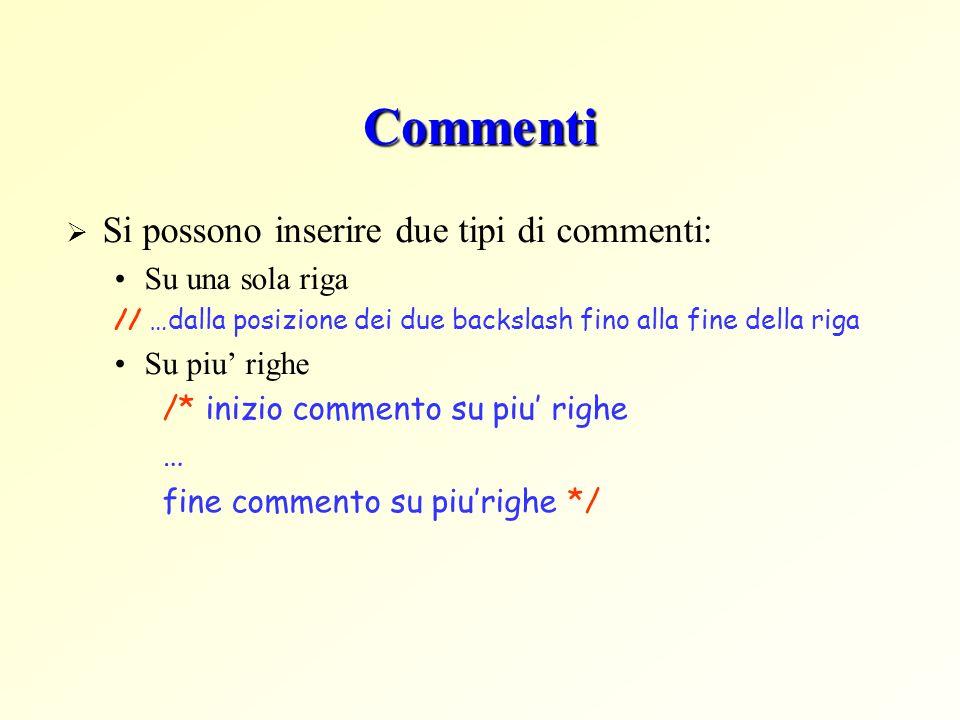 Commenti Si possono inserire due tipi di commenti: Su una sola riga