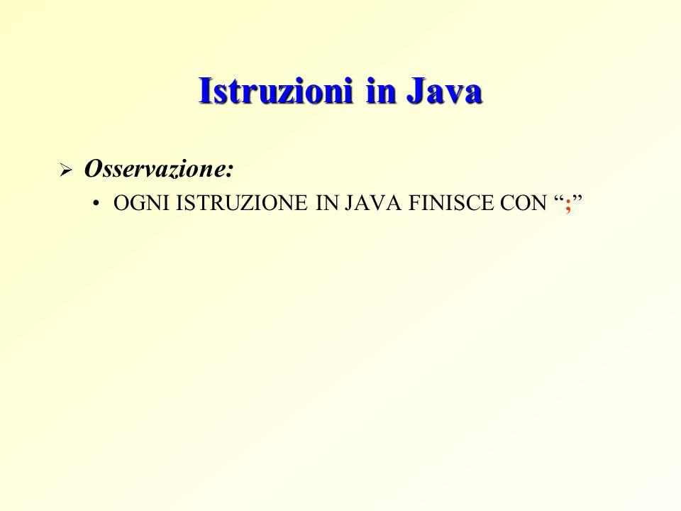 Istruzioni in Java Osservazione: