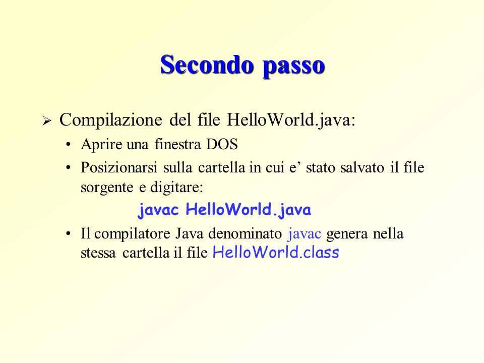 Secondo passo Compilazione del file HelloWorld.java: