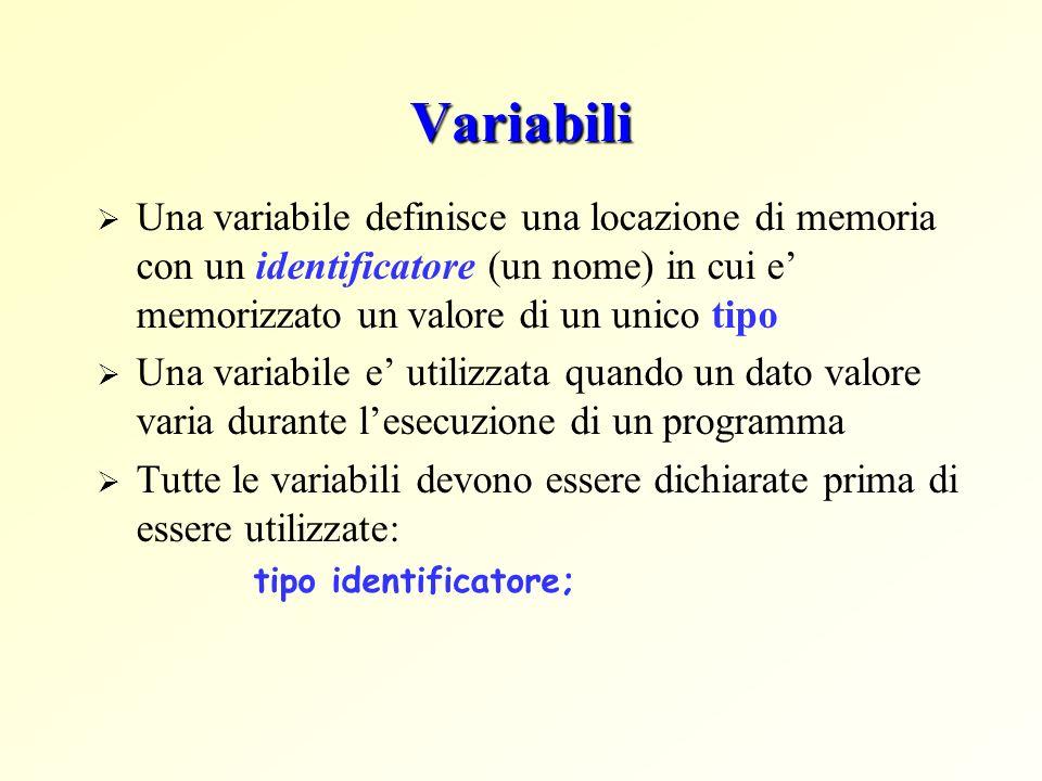 Variabili Una variabile definisce una locazione di memoria con un identificatore (un nome) in cui e' memorizzato un valore di un unico tipo.