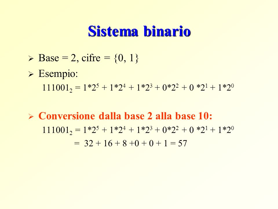 Sistema binario Base = 2, cifre = {0, 1} Esempio: