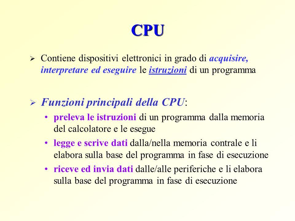 CPU Funzioni principali della CPU: